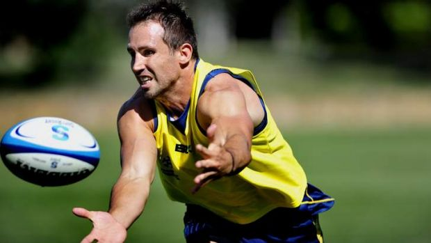 Brumbies player Andrew Smith in action at training.