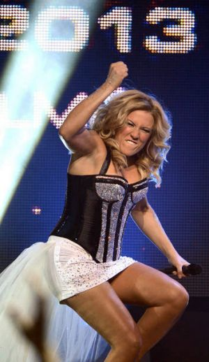 German singer Natalie Horler of the band Cascada celebrates after winning the German trials for the Eurovision Song ...