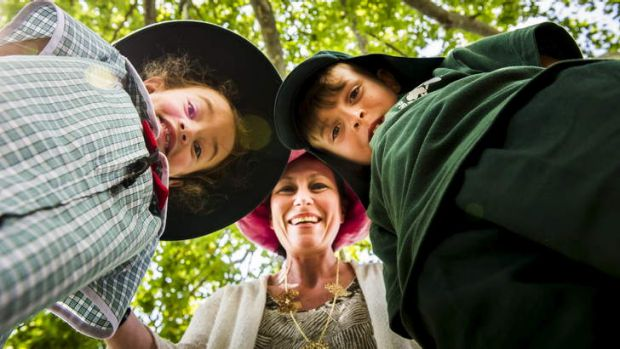 Year Two students, Maya Marando and Michael Bennett with their teacher, Sharon Brissoni at the Yarralumla ...