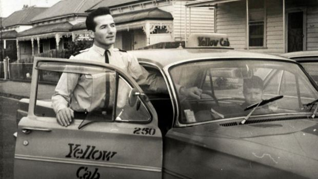 Cabbie Andy Tsionis, pictured in the early 1960s, is about to clock up 50 years of driving taxis.