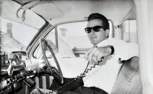 Andy Tsionis in his cab in the 1960s.