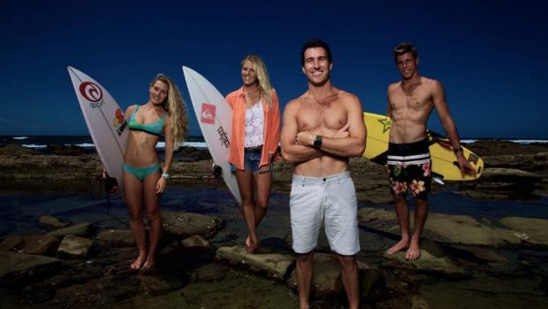 Stoked … Australia's four world champion surfers, from left, Nikki Van Dijk, Stephanie Gilmore, Joel Parkinson and ...