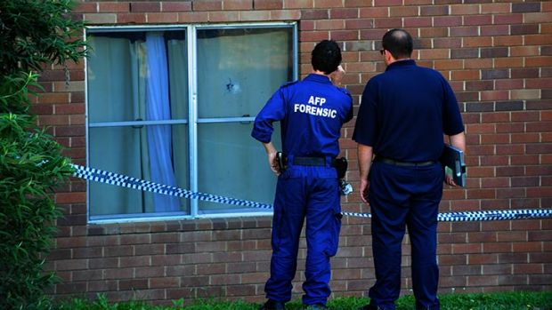 Shooting at Block 4 Stuart Flats, Griffith. ACT forensic police officers at the scene.