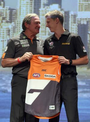 Greater Western Sydney coach Kevin Sheedy and No.1 pick Lachie Whitfield.