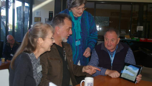 (From left) Judy Young, Ivan Radywonik, Isabel Collins and Dick Johnson belong to AUSOM, which was formed in 1979 and ...
