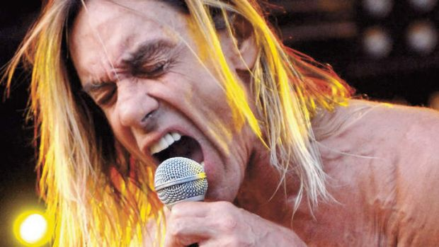 Raw power … Iggy Pop performing with the Stooges in London in 2008.