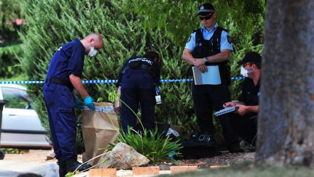Police investigate a shooting at Tipping Place, McKellar.