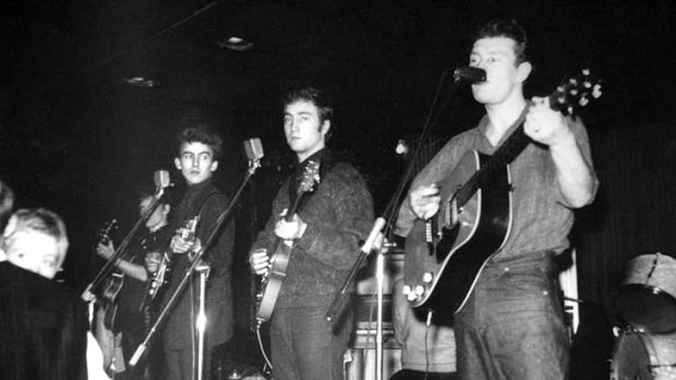 Influential … Tony Sheridan, right, performs with the Beatles in Hamburg.