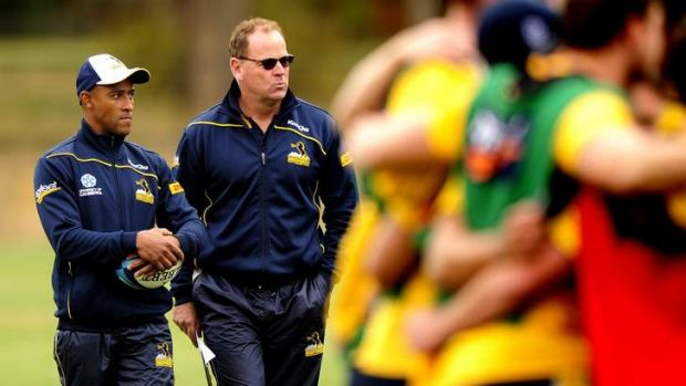 Brumbies head coach Jake White, right, with George Gregan, will be announced as an adjunct professor at the University ...