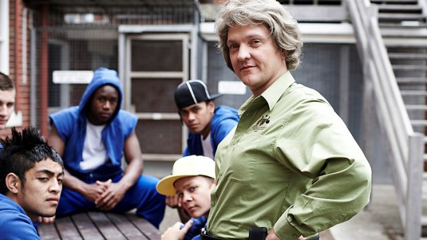 Popular ... Ruth 'Gran' Sims played by Chris Lilley, right, in 2011's <i>Angry Boys</i>.