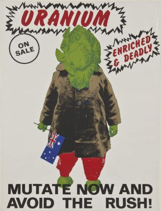 "Michael Callaghan, ""Mutate now and avoid the rush"", 1970s screen print, collection: Art Gallery of Ballarat, Purchased, ..."
