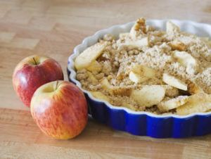 Delicious homemade apple crumble.