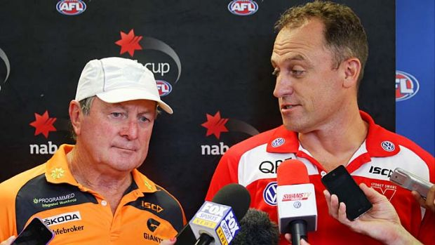 GWS coach Kevin Sheedy, pictured with Swans coach John Longmire, said the cap would exacerbate the downfalls of the ...
