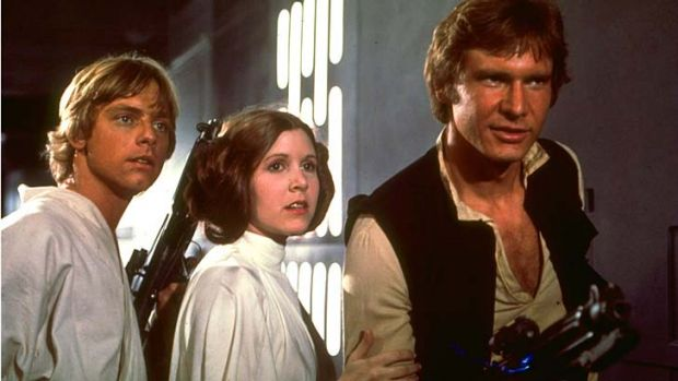 Mark Hamill, Carrie Fisher, and Harrison Ford <i>Star Wars IV: A New Hope</i>.