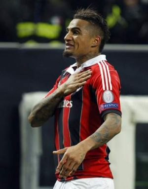 AC Milan's Kevin-Prince Boateng celebrates after scoring against Barcelona.