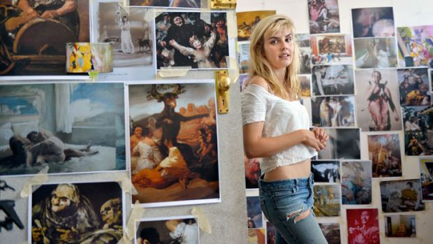 Artist Sophia Hewson surrounded by images that inspire her. On Saturday night this self-described 'happy, bubbly blonde' ...
