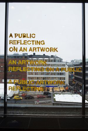 This mirrored glass was shown as part of the artist-run fair in Sweden.