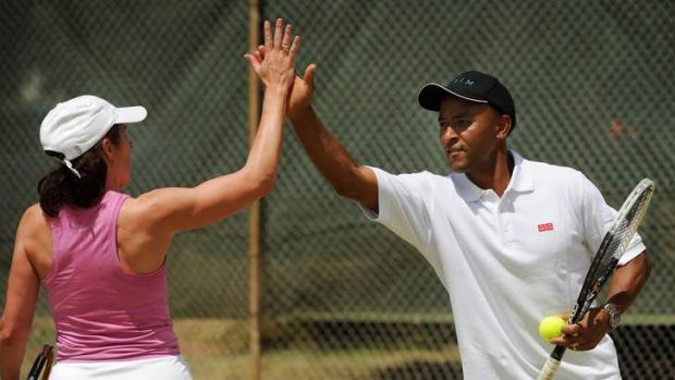 Rugby great George Gregan at Forrest Tennis Club for the charity day.