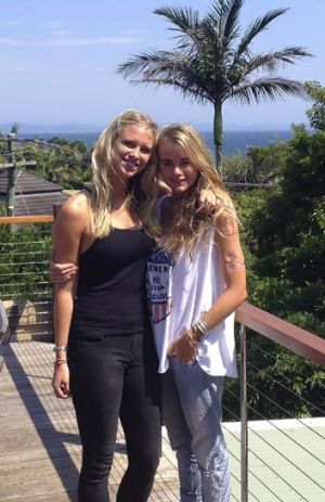 Princess in waiting? ... Cressida Bonas (right) at Byron Bay.