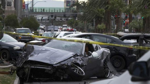 """Like Die Hard"" ... wrecked cars on the Las Vegas strip."