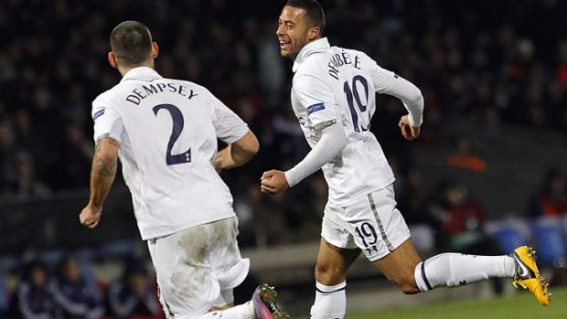 Mousa Dembele (right) celebrates with Clint Dempsey,  after he scored against Tottenham during their Europa League round ...
