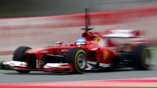 Fernando Alonso of Spain and Ferrari  during a test session at the Montmelo racetrack near Barcelona, Spain.