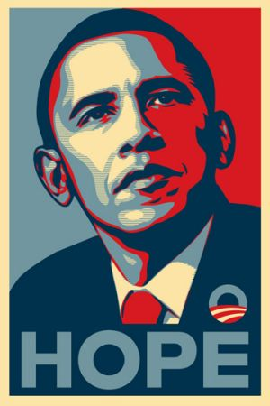 Barack Obama's election campaign poster, <i>Hope</i>, by Shepard Fairey.