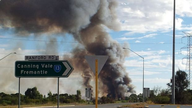 The picture was taken from the Ranford Road intersection north of the fire.