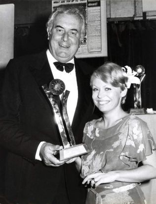 Gough Whitlam with actress, Jacki Weaver, at the Sun Awards for the Australian of the Year, 1977.