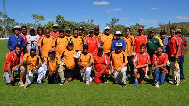 Field of Dreamtime ... the Tennant Creek and Alice Springs teams in the Imparja Cup.