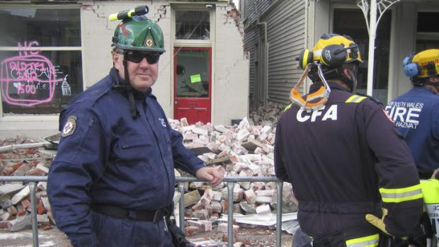ACT Ambulance paramedic Darren Neville in Christchurch after the earthquake.