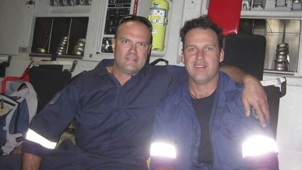Emergency workers Craig Perks and Matt Spackman en route to Christchurch to help with the earthquake recovery.