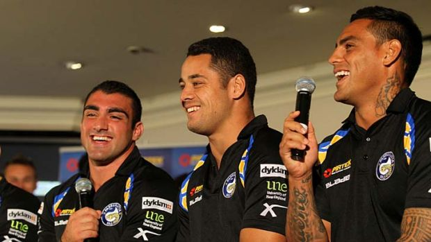 Follow the leaders ... Tim Mannah, Jarryd Hayne and Reni Maitua at the announcement on Friday that they will share the ...