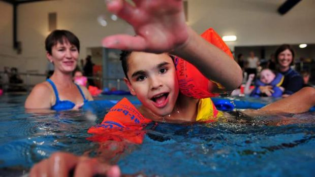 The opening of the new $3.05million hydrotherapy pool at Malkara School, Slade Jacky enjoys his time in the pool, Garran.