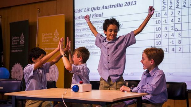 Canberra Grammar Primary school students, Nick Barnard, James Rogers, Leo Barnard, and James Phillips, celebrate a ...