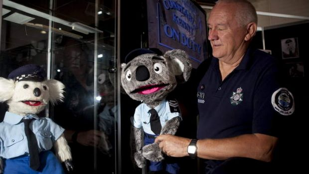 The 'new 'look Constable Kenny Koala looks at the original retired Kenny with Stewart Waters.