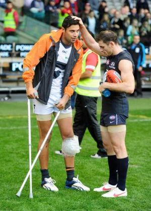 Fighting back: Giant Setanta O'hAilpin, with former Carlton teammate Heath Scotland, has returned from a knee injury.