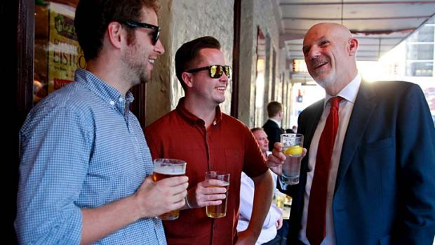 Tee-total … Steve Page and Taylor Smith talk to Nick Waterworth, who has given up alcohol for the month to raise ...
