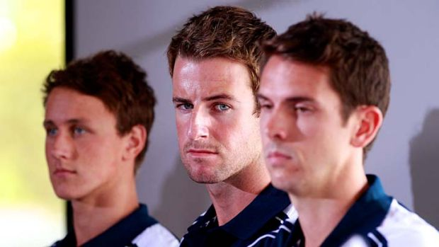 In deep water … James Magnussen, centre, with Cameron McEvoy, left, and Eamon Sullivan at their news conference on ...