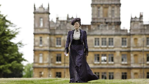 Wandering lonely ... Maggie Smith, who plays Violet Crawley, walks the lawns in search of a few more viewers.