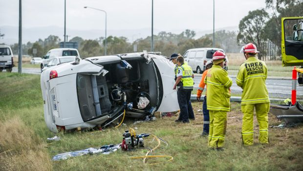Emergency workers have had to cut the occupants out of a car after a serious accident in southern Canberra.