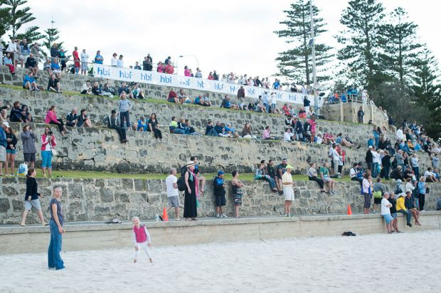 Swimmers and spectators at Cottesloe Beach for the 2013 Rottnest Channel Swim.