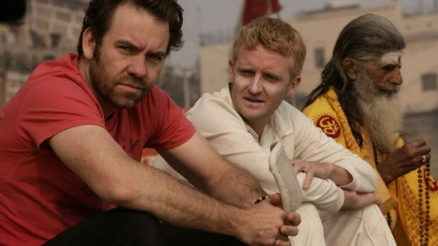 Wickets, and lots of runs ... Brendan Cowell and Stephen Curry in India.