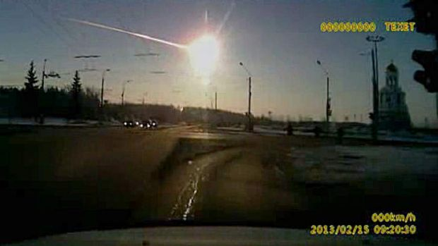 Zombie apocalypse? Not this time ... a still from a dashboard camera  shows the  meteor streak  through the sky over ...