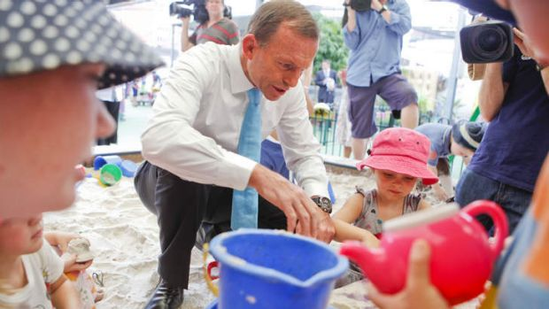 Mr Nice Guy ... Tony Abbott at a Brisbane childcare centre in January.