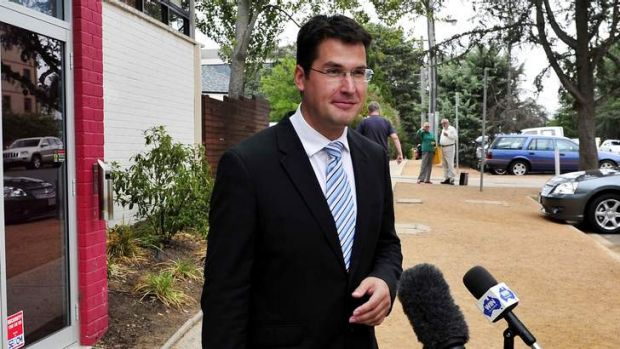 Zed Seselja addresses the media after voting was completed on Saturday.