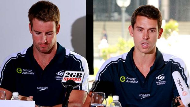 Fronting up ... James Magnussen and Eamon Sullivan.