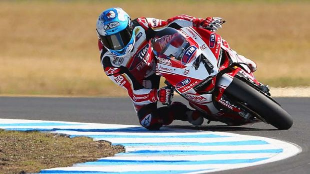 Carlos Checa in action at Phillip Island on Saturday.