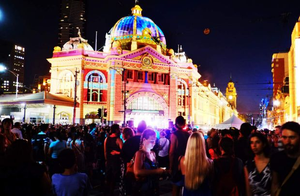 Flinders Street station during the White Night Festival on Saturday.