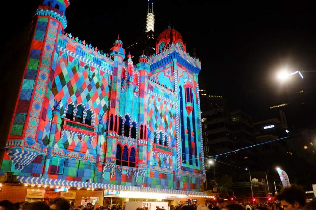 Melbourne's Forum Theatre comes alive at night during the White Night Festival.